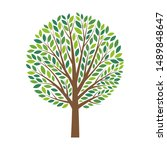 abstract green tree with leaves.... | Shutterstock . vector #1489848647