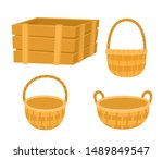 empty wooden box and baskets... | Shutterstock .eps vector #1489849547