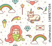 kawaii seamless magic baby...   Shutterstock . vector #1489877054