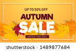 autumn background with flat... | Shutterstock .eps vector #1489877684
