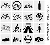 biking vector icons set on gray.... | Shutterstock .eps vector #148989134
