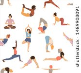 pattern with women practicing... | Shutterstock .eps vector #1489903091