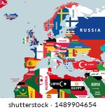 vector part of world map with... | Shutterstock .eps vector #1489904654