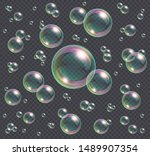 realistic soap bubbles with... | Shutterstock .eps vector #1489907354