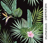 tropical seamless pattern with... | Shutterstock .eps vector #1489909394