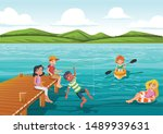 group of teens jumping from... | Shutterstock .eps vector #1489939631