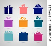 Set Of Nine Colorful Icons Of...