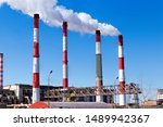factory plant smoke stack over... | Shutterstock . vector #1489942367