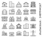 building   line vector icon set | Shutterstock .eps vector #1489944167