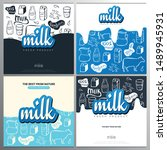 set of milk banners with hand... | Shutterstock .eps vector #1489945931