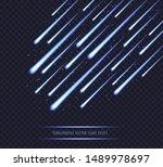 meteor shower  blue shooting...   Shutterstock .eps vector #1489978697
