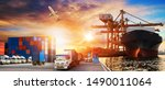 container truck in ship port... | Shutterstock . vector #1490011064