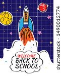 back to school poster with... | Shutterstock .eps vector #1490012774