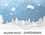 vector winter night scene in... | Shutterstock .eps vector #1490048684