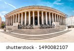 Historic neoclassical courthouse Cour de Appel built in 1840s with 24 columns in greek style is one of the most known landmarks of Lyon city and France