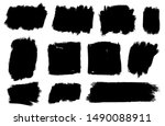 Stock vector set of thick brushstrokes irregular drawing strokes vector brush stroke background texture and 1490088911