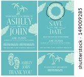 beach  wedding invitation card... | Shutterstock .eps vector #149009285