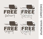 free delivery labels over gray...