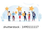 people are holding stars over... | Shutterstock .eps vector #1490111117