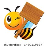 cartoon cute smiling bee mascot ... | Shutterstock .eps vector #1490119937