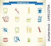 Dental Icon Set In Color