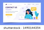 contact us landing page. woman... | Shutterstock .eps vector #1490144354