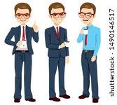 young adult businessman... | Shutterstock . vector #1490146517