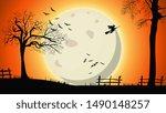 halloween background  night... | Shutterstock .eps vector #1490148257