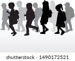 silhouette of a child with a... | Shutterstock .eps vector #1490172521