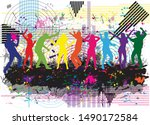 dancing people silhouettes.... | Shutterstock .eps vector #1490172584