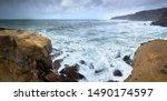 A Huge Ocean Waves Breaking On...