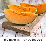 Fresh Of Sliced Orange Melon Or ...