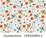 cute  butterfly pattern with... | Shutterstock .eps vector #1490208911