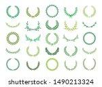 set of green silhouette laurel... | Shutterstock .eps vector #1490213324