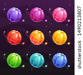 cartoon colorful jelly planets...