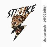 strike slogan with leopard in... | Shutterstock .eps vector #1490216864