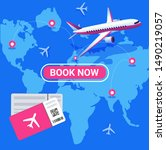 travel and tourism background.... | Shutterstock .eps vector #1490219057