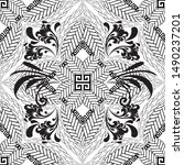 black and white floral greek... | Shutterstock .eps vector #1490237201