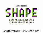 impossible shape style font ... | Shutterstock .eps vector #1490254124