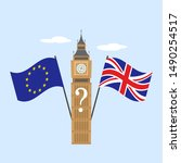 Stock vector european flag and britain flag on big ben background brexit concept 1490254517