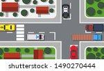 crossroad top view vector... | Shutterstock .eps vector #1490270444