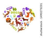 vector hand drawn heart shaped... | Shutterstock .eps vector #1490273231