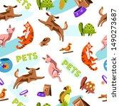 vector hand drawn seamless... | Shutterstock .eps vector #1490273687