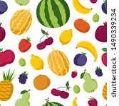 seamless pattern with cute... | Shutterstock .eps vector #1490339234