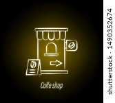 coffee shop hand draw neon icon....