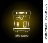 coffee machine hand draw neon...