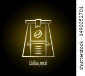 coffee pack hand draw neon icon....