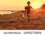 5 Years Old Kid And Dog Runnin...
