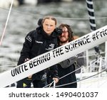 Small photo of New York, NY - August 28, 2019: 16-year-old climate activist Greta Thunberg arrives into New York City after crossing the Atlantic in zero carbon sailboat at North Cove Marina