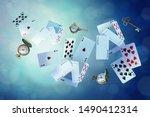 wonderland background. playing... | Shutterstock . vector #1490412314